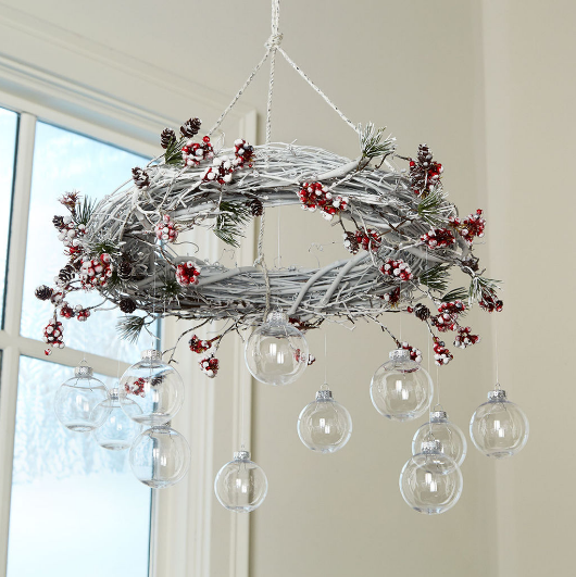 Michaels DIY Christmas Wreath Chandelier